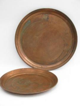 two large round heavy solid copper trays, vintage West Bend