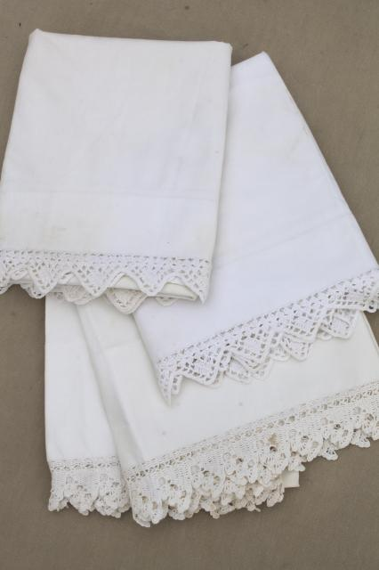 two pairs vintage all white cotton pillowcases w/ handmade crochet lace edgings