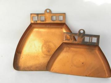 two vintage copper arts & crafts mission crumb pans bungalow table