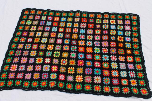 Two Vintage Crochet Granny Square Afghans Retro Bohemian Bright