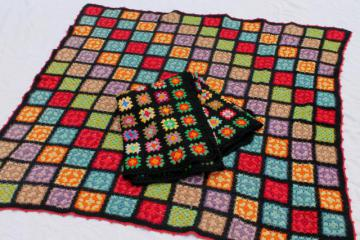 two vintage crochet granny square afghans, retro bohemian bright colors w/ black