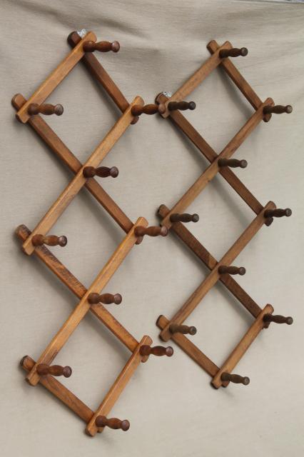 Two Vintage Wood Peg Mug Racks Accordion Adjule Wall Rack For Coffee Mugs