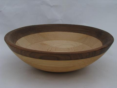 two-tone birch & walnut hand turned wood bowl, vintage woodenware