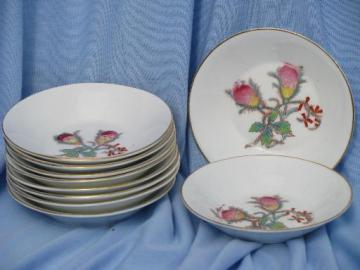unmarked Haviland china moss rose center fruit bowls, 10 antique bowls