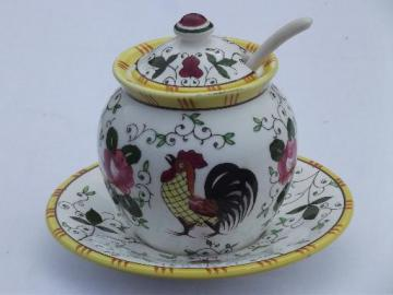 unmarked PY Japan vintage handpainted rooster and roses jam pot jar w/ lid