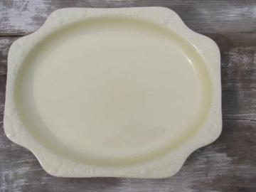 unmarked antique earthenware pottery platter, old molded fruit creamware