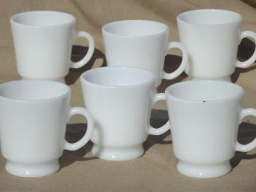unmarked vintage milk glass punch cups, set of 6 small milk glass mugs