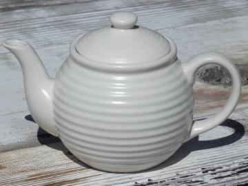 unmarked vintage ring band pottery teapot, retro matte white glaze