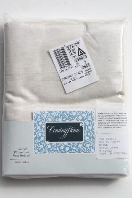 unused Lands End cotton flannel bedding, queen fitted sheets & pillowcases