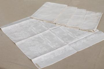 unused old ivory Irish linen damask cloth dinner napkins, vintage fabric napkin set