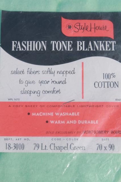 unused vintage 100% cotton sheet blanket, light green mint color, Montgomery Wards Style House label