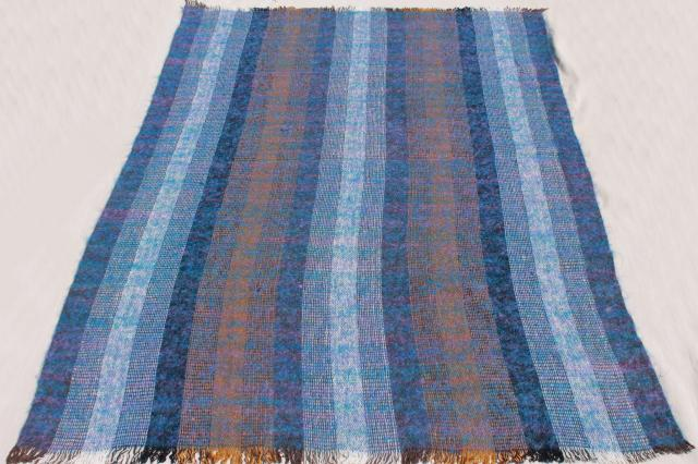 unused vintage Avoca Ireland Irish wool mohair throw blanket, earth brown & blue colors