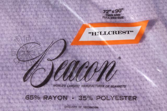 unused vintage Beacon blanket, lavender purple thermal weave rayon / poly bed blanket