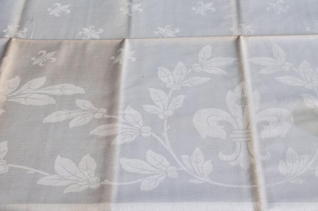 unused vintage Belgian linen damask tablecloths, square tablecloth pair