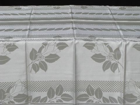 unused vintage Czech damask table linens w/ labels, tablecloth & dinner napkins