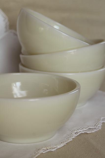 unused vintage Fire King ivory glass bowls, heavy restaurant ware milk glass