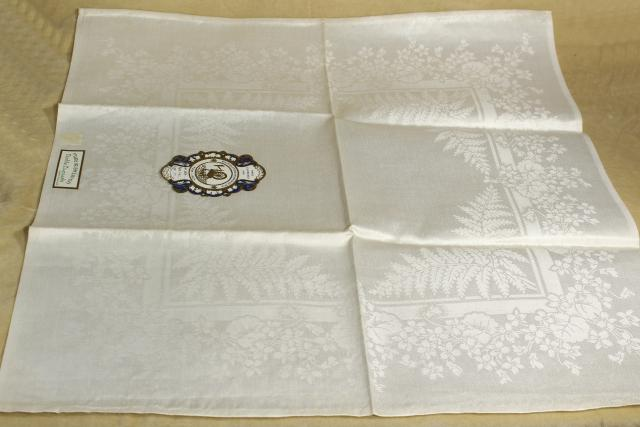 unused vintage Irish linen double damask table linens, banquet cloth & dinner napkins