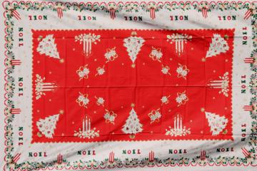 unused vintage Noel Christmas print cotton / rayon tablecloth, banquet table size