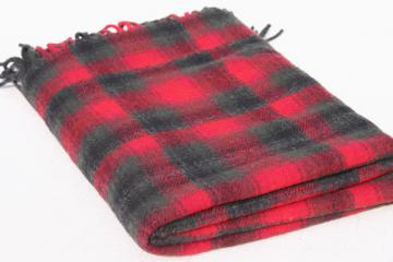 unused vintage Pendleton wool stadium blanket, retro camp red tartan plaid throw