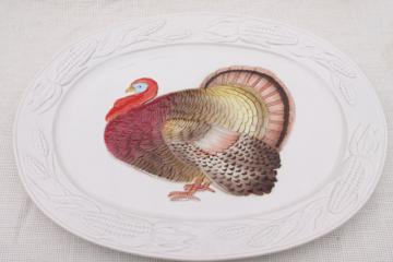 unused vintage Thanksgiving turkey platter, 80s Otagiri Japan ceramic