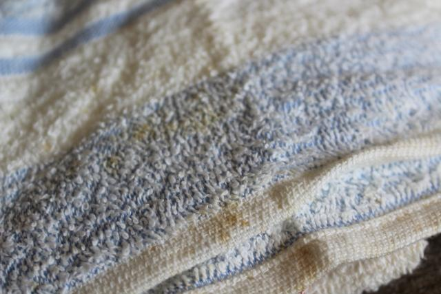 unused vintage bath towels, thin light terrycloth fabric white cotton towels