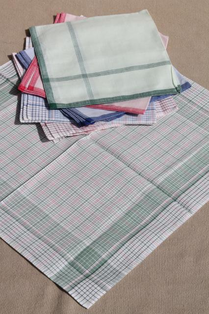 unused vintage colored checked cotton handkerchiefs, men's large square hankerchief lot