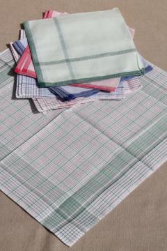 unused vintage colored checked cotton handkerchiefs, men's large square hankerchief lot