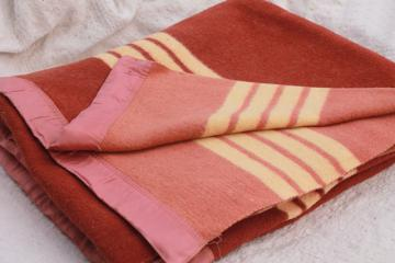 unused vintage cotton camp blanket, striped rust brown blanket for camping or bunk