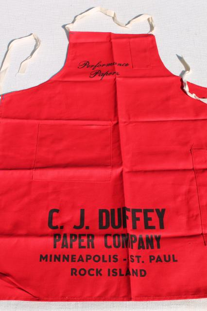 unused vintage cotton carpenters bib work tool apron from C J Duffey Paper Company