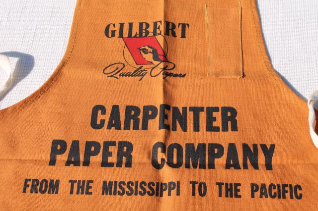 unused vintage cotton carpenters bib work tool apron from Gilbert Paper Company