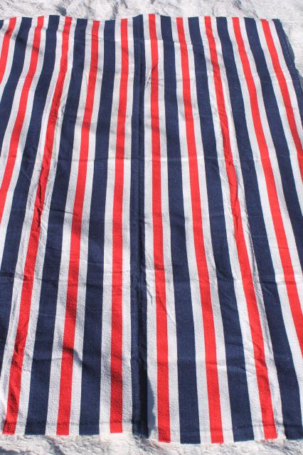 unused vintage cotton terrycloth beach blanket towel, retro red, white & blue stripes