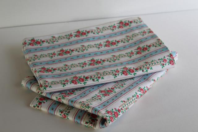 unused vintage cotton ticking pillow cover pillowcases, blue & pink striped floral print