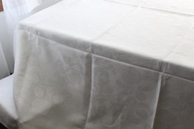 unused vintage damask tablecloth 72 x 86, pure linen woven jacquard peaches pattern