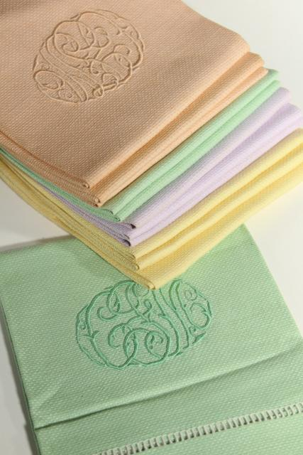 unused vintage hand towels w/ embroidered script, pastel cotton huck fabric guest towel full dozen