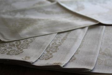unused vintage linen damask dinner napkins in oyster grey, made in Belgium labels