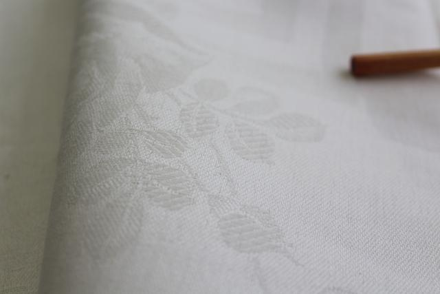 unused vintage linen tablecloth, cream color single damask, rustic farmhouse style