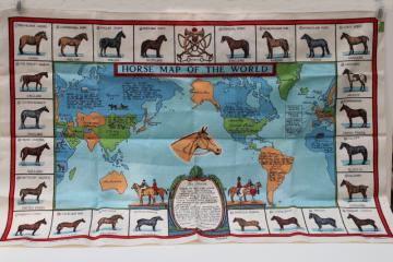 unused vintage linen tea towel, Horses of the World map print horse breeds & types