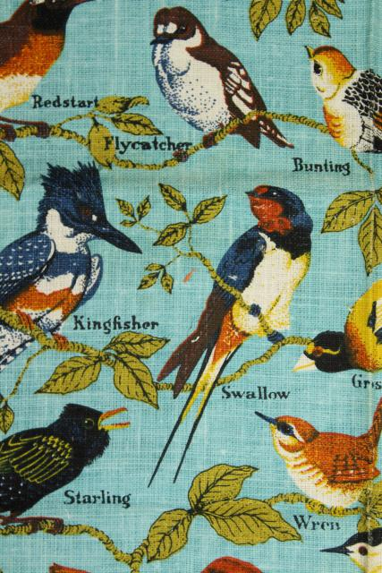 unused vintage linen tea towels, birds & butterflies printed dishtowels