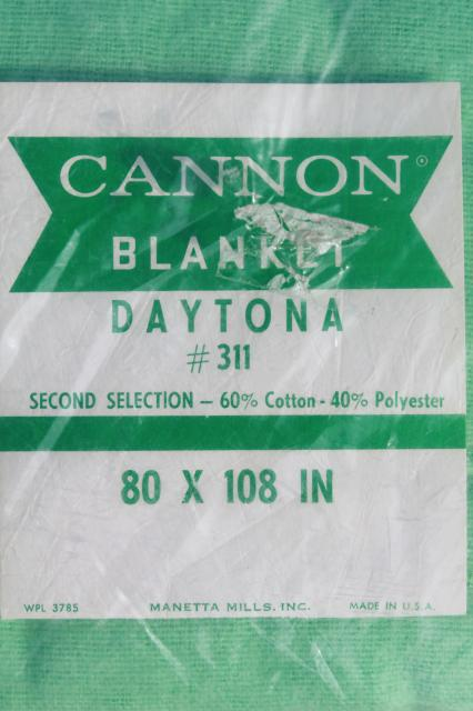 unused vintage mint green cotton / poly blanket in original Cannon label package