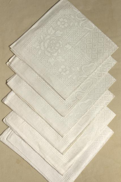 unused vintage natural ivory unbleached linen napkins w/ openwork woven border