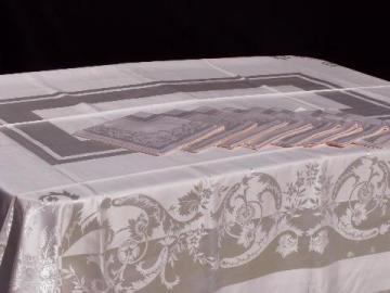 unused vintage pink damask table linens w/ labels, tablecloth & dinner napkins