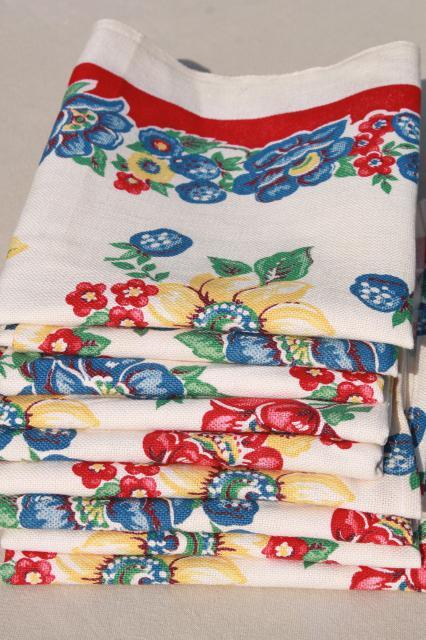 Unused Vintage Print Cotton Kitchen Towels Retro Flowers