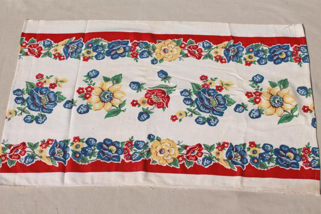 unused vintage print cotton kitchen towels, retro flowers Startex towel fabric