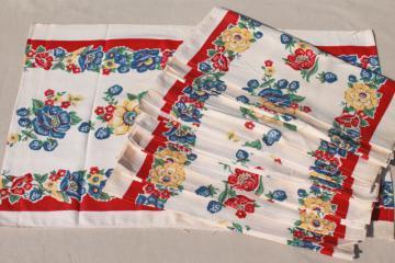 unused vintage print cotton kitchen towels, retro flowers Startex towel fabric