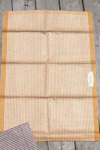 unused vintage pure linen kitchen towel set, Dura Weave label gingham checked towels