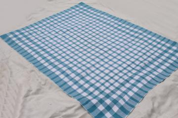 unused vintage pure linen tablecloth for farmhouse harvest table, french blue & white
