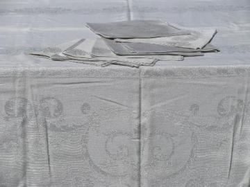 unused vintage silver damask table linens w/ labels, tablecloth & dinner napkins