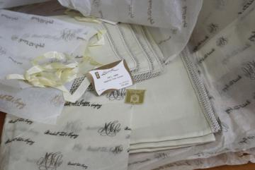 unused vintage tea table linens, fine handkerchief linen tablecloths & napkins w/ lace edging