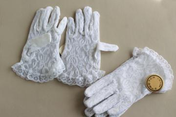 unused vintage white lace stretch gloves, little girls child size 4 to 7 years