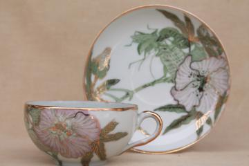 unusual flora & fauna china tea cup & saucer, vintage Japan porcelain hand-painted bird & insect